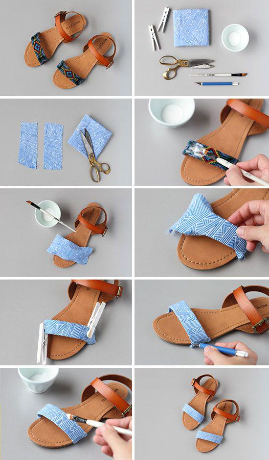diy fabric sadnals - Βαρέθηκες τα σανδάλια σου; 10 μοναδικοί τρόποι να τα ανανεώσεις και να φαίνονται σαν καινούρια!